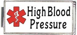 - High Blood Pressure White Medical Alert Italian Charm Superlink Bracelet Jewelry Link