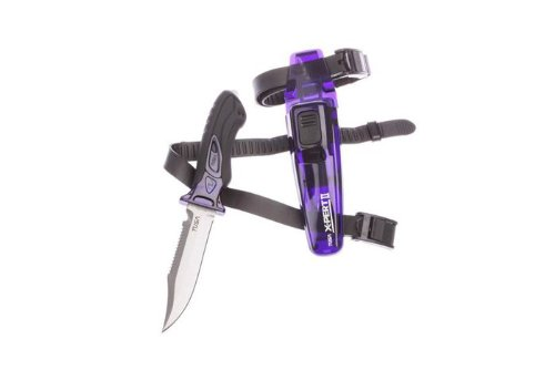 Tusa Imprex X-Pert II Scuba Diving Drop Point Knife with Sheath and Leg Straps (Cobalt Blue/Black)