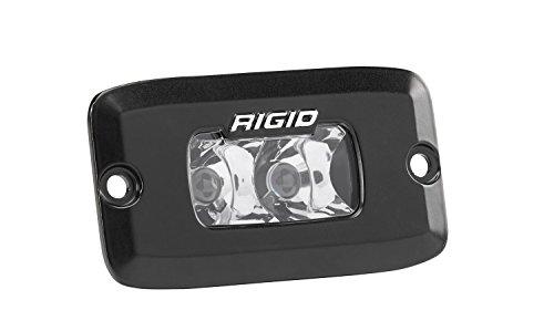 (Rigid Industries 922213 SR-M Series Pro Spot Light; Flush Mount; Hybrid; 10 Degree; 3 White LEDs; Black Rectangular Housing; Single;)