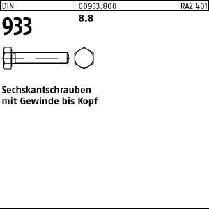 200 Sechskantschrauben DIN 933 8.8 schwarz M8x20