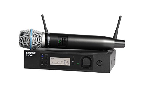 Shure GLXD24R/B87A-Z2 Rechargeable Wireless System with BETA87A Vocal Microphone, Half Rack
