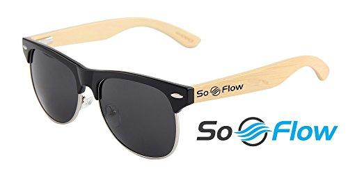 SoFlow 2018 Black Polarized Half Frame Wood Sunglasses for Men or Women - Wooden Bamboo - Cool Pool or Beach Sunglasses - Black Lens - Semi Rimless - Glasses Wooden Framed