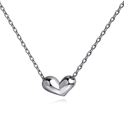 925 Sterling Silver Heart - Mini Heart Necklace 925 Sterling Silver Heart Pendant Necklace Floating Tiny Necklace (silver)