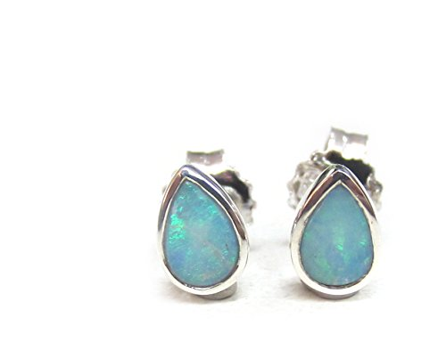 ZilverPassion Pear Shaped Natural Opal Sterling Silver Stud - Natural Opal Earrings Stud