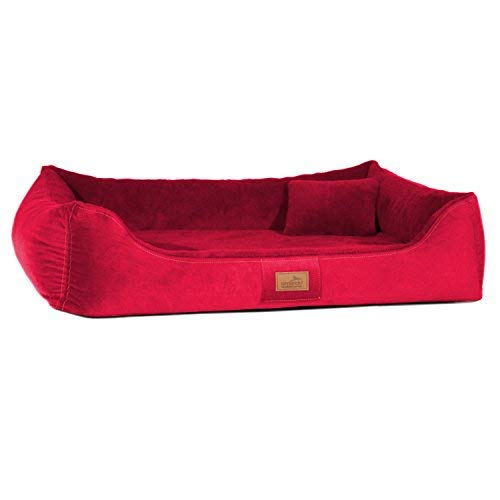 Tierlando Ultra Soft Orthopedic Dog Bed Floyd High-Tech-Velours and Stuffed Visco 04 Raspberry Red, FYD5   120 x 85 cm