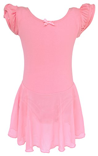 Dancina Girls Skirted Leotard Dress Ballet Dance Flutter Sleeve Cotton Lining