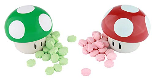 Super Mario Brothers Mushroom Candy (2 Tins) Sour Apple & Sour Cherry ()