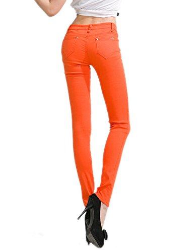 Jegging Deley Fit Donne Juniors Basic Solide Leg Arancia Jeans Skinny Pantaloni Stretch FFqvw0Ur