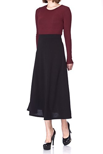 Plain Beauty Casual Office High Waist A-line Full Flared Swing Skater Maxi Long Skirt (XL, Black)