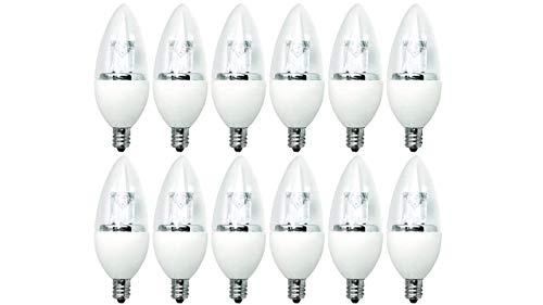 TCP 25 Watt LED B11, 12 Pack, Soft White, Clear Candelabra Base, Chandelier Light Bulbs