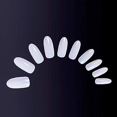 MelodySusie 600pcs Oval Nail Tips Natural Full Cover Acrylic False Nails 10 Sizes White Fake Nails for Nail Salons and DIY Nail Art