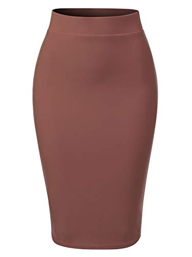 MixMatchy Women's Solid Techno Scuba Bodycon Pencil Skirt with Back Slit Mauve S