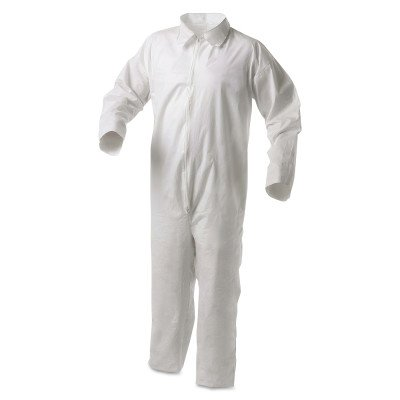 Kleenguard A35 Disposable Coveralls (38918), Liquid and Particle Protection, Zip Front, Open Wrists & Ankles, White, Large, 25 (Kleenguard A35 Liquid)