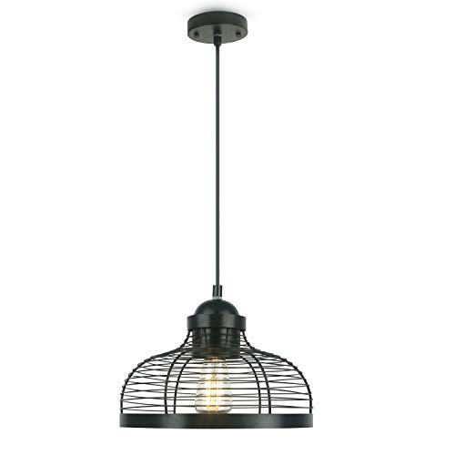 Industrial Lighting Ceiling Hanging Pendant Light Fixture, Retro Matte Black Lighting with Metal Cage, Hanging Ceiling Light Fixture for Kitchen Bedroom Bar 1 Pack (Not Include E26 Bulbs)