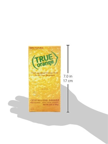 True citrus orange 100 count, red 5 authentic, fresh-squeezed taste without the seeds, mess or waste 1 packet = taste of 1 wedge simple, clean ingredients: no artificial flavors, preservatives & non-gmo