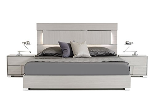Italian Contemporary Bedroom Furniture - Limari Home The Willem Collection Modern Italian Crafted Veneer Platform King Size Bed With Chrome Acrylic Accent Legs & LED Lit Headboard, King, Gray