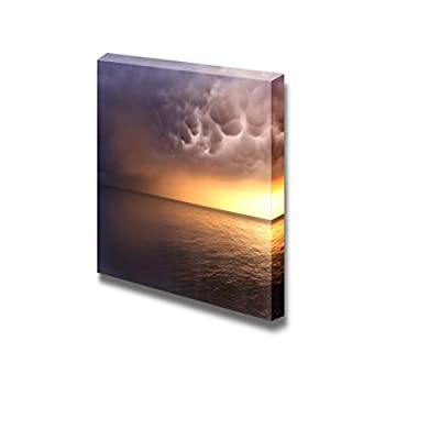 an Angry Storm Drifting Out to Sea at Dusk Concept of Weather Nature - Canvas Art Wall Art - 16