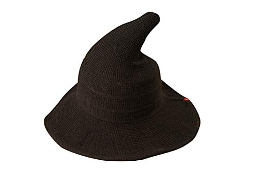 (MysterLuna Women Foldable Cotton Halloween Witch Hat Costume Anti-UV Ball Cap)