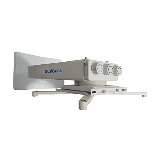 QualGear QG-PM-FT1-WHT Universal Projector Wall Mount with Fine Tune Adjustments by QualGear