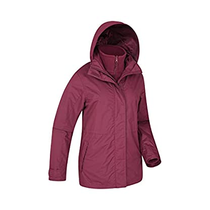 Mountain Warehouse Fell Womens 3 in 1 Jacket -Water Resistant Rain Jacket, Adjustable Hood Ladies Winter Triclimate… 2