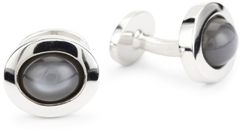 Classic Silver Oval Cufflinks - ROTENIER Classic Sterling Silver Grey Moonstone Cufflinks