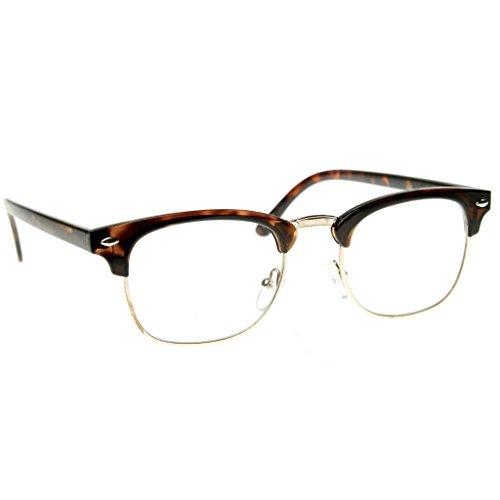 Classic Clubmaster Wayfarer Gold Accent Half Frame Sunglasses (Clear Tortoise, 49) (Style Emblem Accent)
