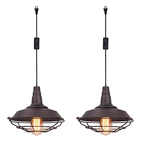 Ivalue Hanging Pendant Lights with on Off Switch Set of 2 Industrial Cage Light Fixtures Pendant Lamp for Kitchen Living Room (DC-Coffee-Plug in -2) ()