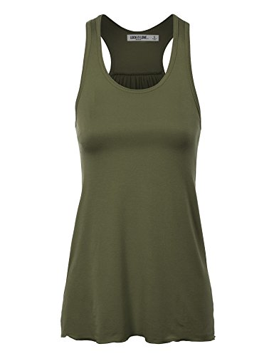 LL WT830 Womens Everyday Racer Tank S OLIVE_RAYON