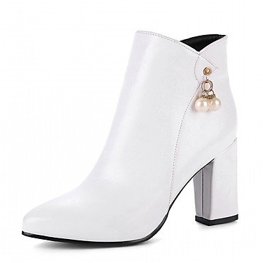 Novelty US6 Boots Comfort Booties Pointed Imitation CN36 Ankle Pearl Pu UK4 Chunky Heel RTRY Winter Leatherette Fashion Boots EU36 Boots Fall Women'S Toe Shoes qnp04