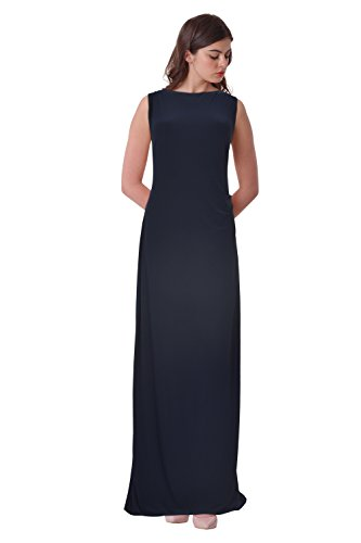 Lauren by Ralph Lauren Embellished Draped Back Column Gown (Navy, - Lauren Ralph Outlet Womens
