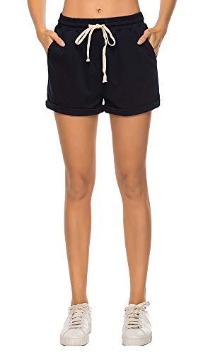Drawstring Plus Size Shorts - AvaCostume Women's Plus Size Summer Drawstring Elastic Waist Beach Casual Cotton Shorts Navy XL