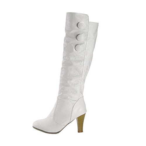 Heels BalaMasa White Outdoor Imitated Leather Chunky Button Womens Boots R1qt16