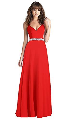 - conail Coco Women's V-Neckline Spaghetti Straps Beaded Criss-Cross Open Back Tulle Evening Prom Formal Dress (Red189, Medium)