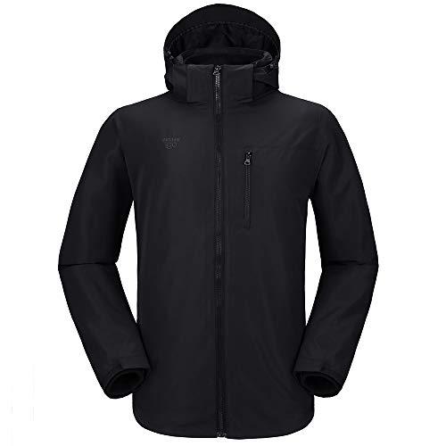 outdoorgo Men's 3 in 1 Ski Jacket Waterproof Soft Shell Winter Jacket for Hiking Outdoors Black Large (Ski Soft Shell Jacket)