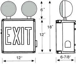 Weatherproof Exit Sign Combo with Red Letters
