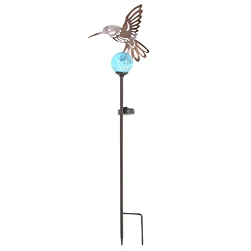 Goose Creek Outdoor Metal Solar Powered Garden Stake Lights with Orb and Stake,Hummingbird ()