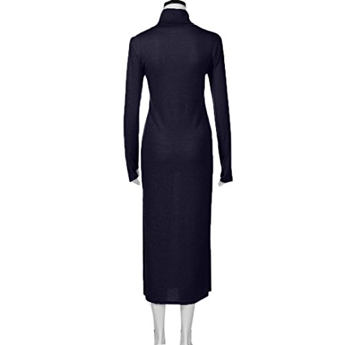 Amlaiworld herbst Damen Stricken eng Kleid Hoher Kragen lang Basic Casual Kleider party Frühling cocktailkleid für Mädchen Blau