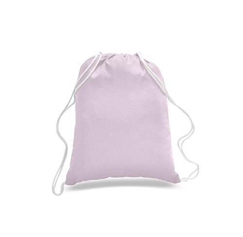 Great Deal! Wholesale Low Price ( 50 Pack ) Sport Drawstring Backpack %100 Cotton Fabric Bags,Cinch Packs for Sport,Gym (Light Pink) by Georgiabags