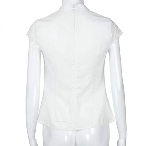 Et Blouse Blanc pissure Mousseline Outdoor Manche Rond Col Chemise Dentelle Femme Courtes Mode Tops Elgante Haut Fit Blouse Manches Trous Style Slim Moderne Style Spcial Uni 4TOEOxqRw