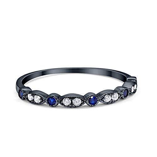 2mm Half Eternity Wedding Band Art Deco Design Round Simulated Blue Sapphire CZ Black Tone 925 Sterling Silver, Size-8
