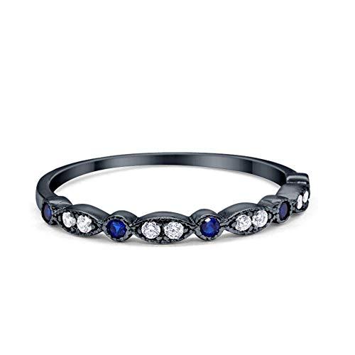 2mm Half Eternity Wedding Band Art Deco Design Round Simulated Blue Sapphire CZ Black Tone 925 Sterling Silver, Size-7
