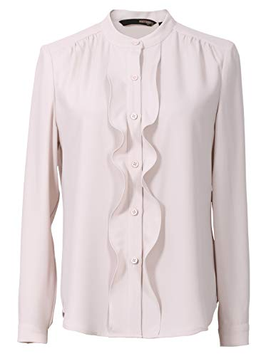 - ROEYSHOUSE Women's Long Sleeve Front Ruffle Chiffon Button Down Shirt Ivory