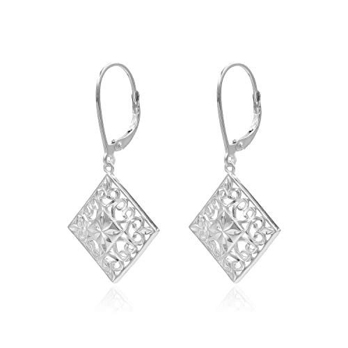 (Sterling Silver Diamond-Cut Filigree Square Leverback Dangle Drop Earrings)