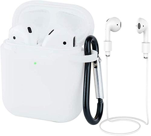 AirPods Case Silicon with Earbuds Strap and Keychain Upgraded Ultra-Thin Soft Skin Cover Compatible with Apple AirPods 2 & 1 -(AirPods Case-White)