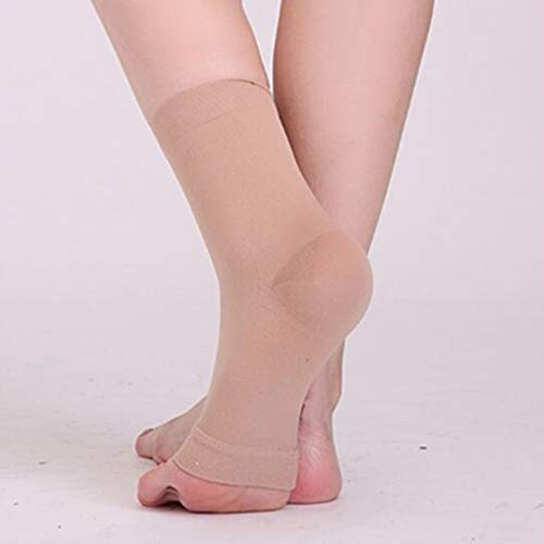 Medical Circulation Compression Socks Elastic Sock Varicose Vein Ankle Support Stockings with Open Toe (FLESH)