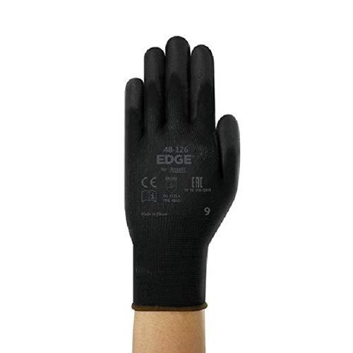 12 pares mejoras en el hogar y aplicaciones mec/ánicas guantes multiusos para bricolaje color negro talla 6 Ansell Edge 48-126 Guantes de trabajo para hombres y mujeres