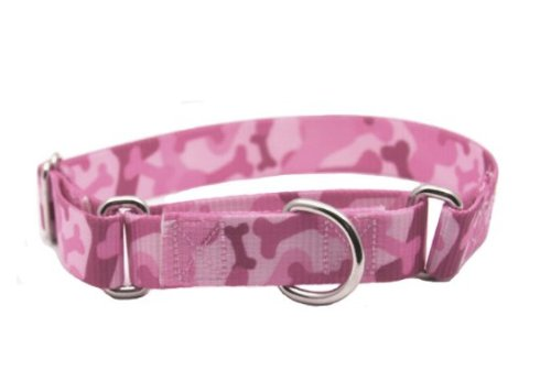 Country Brook Design® Pink Bone Camo Martingale Dog Collar-Large