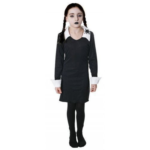 Girls Morbid Daughter Goth Family Cult Classic Halloween Film Movie Book Week Fancy Dress Costume Outfit 4-14 Years (4-6 Years) Black-White -
