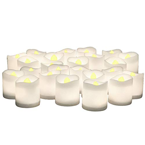 LED Flameless Candles - Set of 24 Flickering Votive Candles - Banberry Designs - LED - Flame Free Votive Candles -