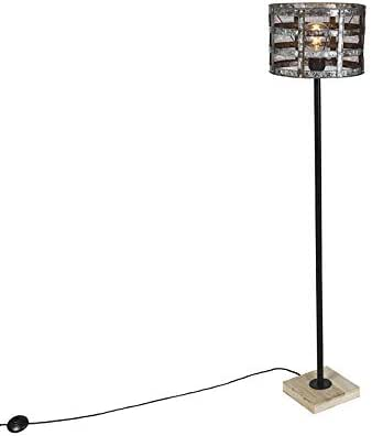 QAZQA Industrial Lámpara pie industrial negra base madera pantalla ...